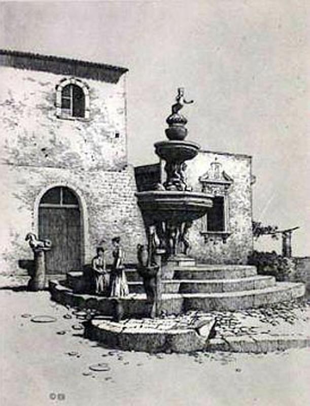 Romantic Horse fountain Taormina Sicily Italy